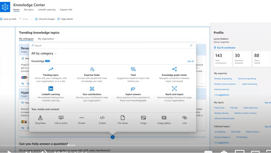 Outputs of Project Cortex can be consumed via Knowledge Webparts. These webparts include 'Ask an Expert' and 'Feed' that recommends topics of interest within your organization. Knowledge Webparts requires Modern Experience in SharePoint to be enabled to be added onto any page layout as a page component.